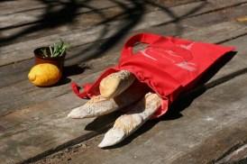 Cotton 'French Bread' bag Kuskat red, Yoga bag, Beach bag