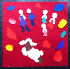 Colorfull Custom made square pillows children's drawing detail appliqué, piecing