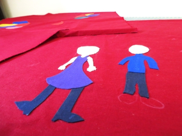 Colorfull Custom made square pillows children's drawing detail appliqué, piecing on wine red cotton