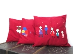 Colorfull costume made square pillows children's drawing, unique wine red throwpillow