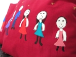 Colorfull Custom made square pillows children's drawing, unique wine red throwpillow