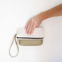 fold over evening clutch, cosmetics bag handpainted filled