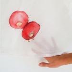 Dropping little balls handpainted on linen with inktensepencils