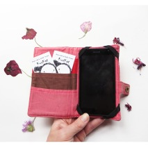 Iphone 6 quilted wallet, pouch case cover open flowers 2