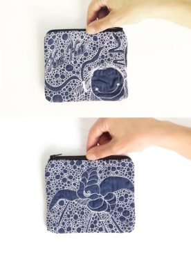 Quilted pouch blue illustration threadpainted presenting front and back