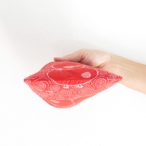 Quilted pouch red illustration threadpainted bottom