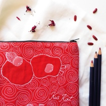 Quilted pouch red illustration threadpainted