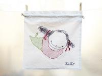 Poissondrieke, natural series of drawstring bread bag 35/35 cm
