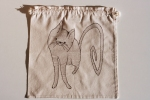 Cat, natural series of drawstring bread bag 35/35 cm