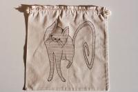Cat, natural series of drawstring bread bag 35/35 cm